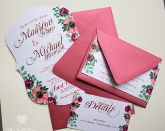 Wedding Invitation Flowers Elegant Vintage (50 Invitations)