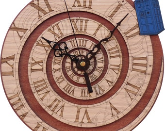 Time Vortex Wood Clock, inpired by Doctor Who