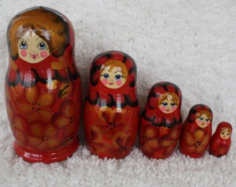 """Russian Matryoshka doll 5.7"""" Nesting dolls Babushka doll"""