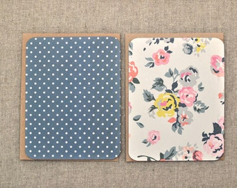 Set of 4 Flat Note Cards - Pretty Note Cards - Polka Dot Note Cards - Floral Notecards - Blank Note Cards - Flat Notecards