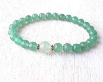 Minimalist Green Aventurine Bracelet, Womens Beaded Bracelet, Vintage Delicate Healing Jewelry, Dainty Yoga Bracelet, Journey Bracelet