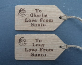 Santa Sack Oak Tags, Christmas Tags, Personalised Tags, Santa Tags, Father Christmas tags, Christmas Decoration Tags.
