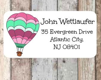 Air Balloon return address labels, colorful air balloon return address stickers, address labels, address stickers, mailing labels, custom