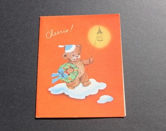Vintage Unused Christmas Bear Card, 1940s 40s Christmas Card with envelope