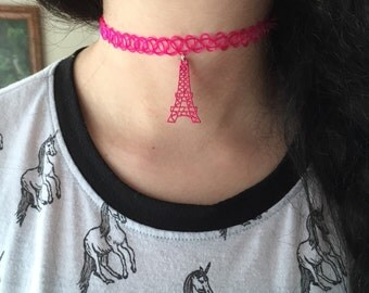 hot pink eiffel tower choker