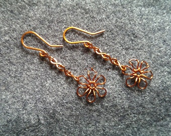 Flower Earings copper wire, copper wire, copper wire, copper earings, Flower earings