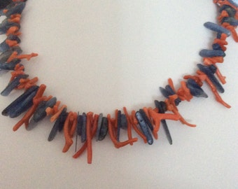 Coral and Kyanite necklace