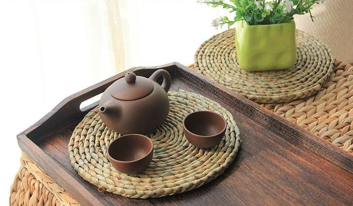 Rustic Straw Table Mat Tea Set Mat Gift For