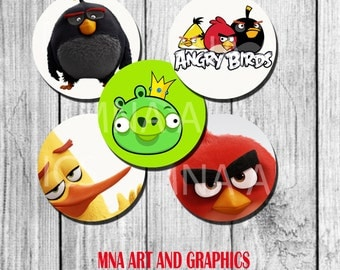 Angry bird  birthday party Cupcake Topper birthday party decoration - Angry birds toppers 2 inch INSTANT download - printable