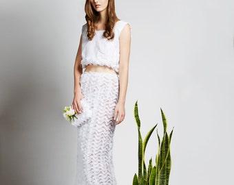 Designer White Ruffle Midi Skirt Set
