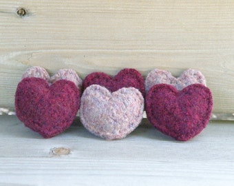 Felted Wool Hearts, Stuffed Wool Hearts, Valentine's Gift, Hand Knit: Plum, Dusty Pink