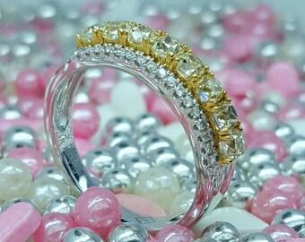 18K White Gold Yellow Diamond Wedding & Anniversary Band