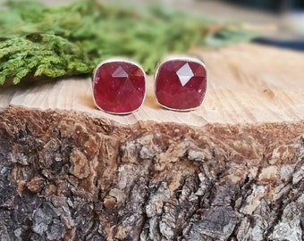 Plum Ruby Earring Studs, natural small red gemstone earrings, raw ruby earrings, genuine ruby stud earrings, july birthstone