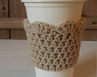 Crochet Coffee Sleeve with Scallop Edge / 100% Cotton / Crochet Gifts / Cotton Gifts - Beige