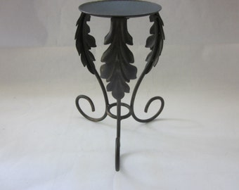 Three Leaf Pillar Candle Holder, Made in Mexico, 3 leaves design