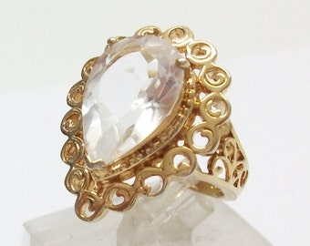Nostalgic, gold-plated ring Silver 925 Silver ring with Crystal size 16.2, size 5.6 SR166