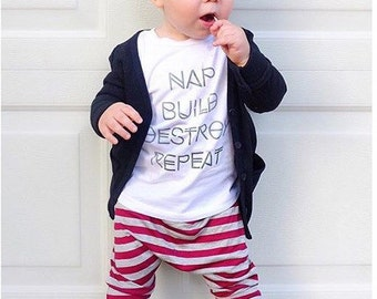 Nap, Build, Destroy, Repeat: Long Sleeved Boys Tshirt | Boy Tee Shirt, Toddler Tshirts, Childrens clothes, Cotton Shirts,