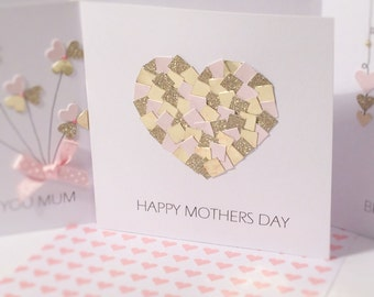 """Mothers Day card mum mummy pink and gold heart handmade """"Happy Mothers Day"""" quote"""