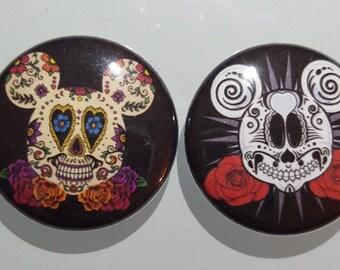 "Mickey and Minnie  Skulls set 1"" pins Buttons set"
