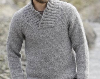 knit men's alpaca wool sweater, pullover, jumper, with raglan and shawl collar, handknit, soft merino wool, alpaca, gift idea, gift for man