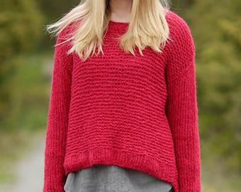 Knit women sweater, Boho, cropped, hand knitted jumper, alpaca, silk, handmade, made to order