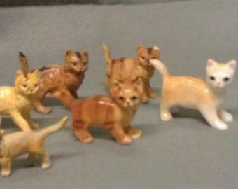 Cats Kittens Lot of 6 miniature cat Figurines