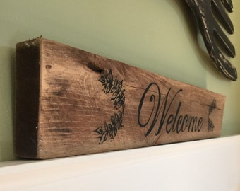 Rustic Welcome Sign on reclaimed wood