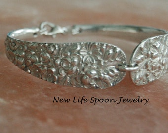 "Spoon Bracelet""Embossed""Floral Spoon Bracelet Silverware Jewelry Antique Spoon Handles Ornate Wedding Gift Handmade Fork Jewelry-191a"