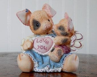 """Enesco This Little Piggy """"I'll Love You Til Pigs Fly"""" Figurine (1995 Retired)"""