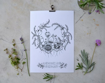 Anemones and Rosemary Print
