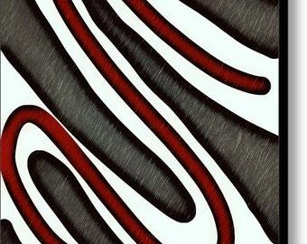Slate Brown Grey Garnet Red Abstract Art,Black White Swirl Lines Canvas Print,Office Spa Decor,Modern Home Decor,Interior Design,Pop Art