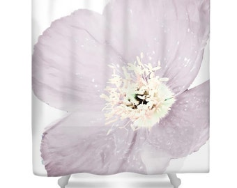 Pink Poppy Shower Curtain,White,Pink,Light Purple,Floral Bathroom Curtain,