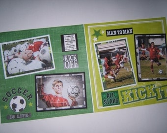 Soccer scrapbook pages - Premade Soccer Pages - Premade Soccer Layouts - 12 by 12 premade soccer scrapbook pages - 12 by 12 soccer layouts