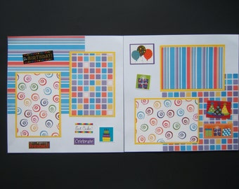Birthday Scrapbook Pages - Birthday Scrapbook Layouts - Premade Birthday Pages - Premade Birthday Layouts - Boy or Girl Birthday Pages