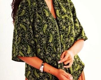 Green Paisley Print  Kimono Jacket