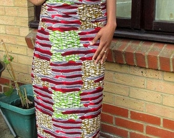 Feathers and Squares African Wax Print Lapa Wrap Skirt - Made to Order