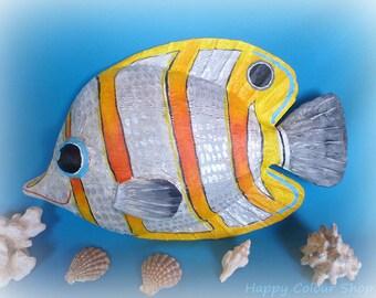 3d wall art decor - 3d wall decoration - smiling papermache butterfly fish wall decoration - fish wall decoration - handmade paper sculpture