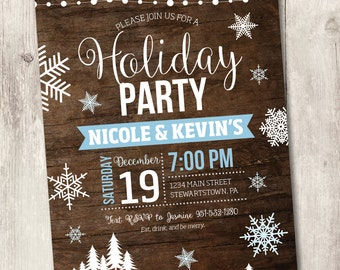 holiday party printable invitation, rustic winter snowflake Christmas party invite on wood hanging lights customize personalize