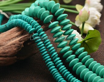 Green Turquoise Flying Saucer Beads, Full Strand 4*10/ 7*16mm Loose Spacer Birthstone Beads (JY135)