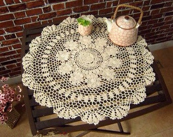 """New crochet America style table cloth/mat beige round 23.6"""" A1501"""