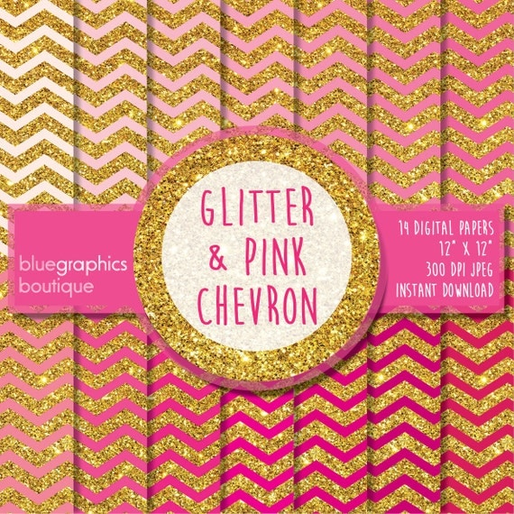 GLITTER and PINK CHEVRON Digital Paper by BlueGraphicsBoutique