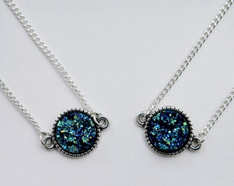 Mermaid Blue Druzy Necklace