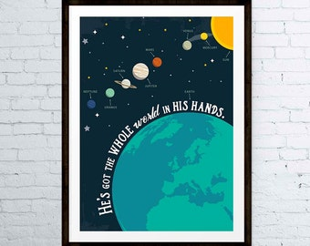 He's got the whole world in His hands - Bible Verse Print Nursery Decor Kids Room Decor Childrens Wall Art Space Poster - INSTANT DOWNLOAD