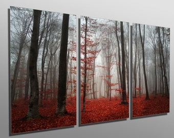 Metal Prints   Red Forest Mist  3 Panel Split, Triptych   Multi Panel Metal
