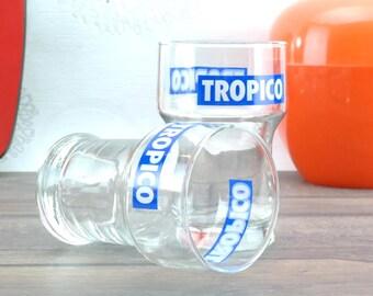 Glasses Vintage France Bistro advertising Tropico 1980 - French Bistro Glassware Tropico 1980
