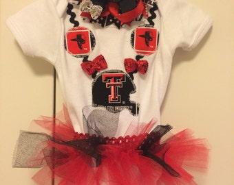 Texas Tech onesie & bow set