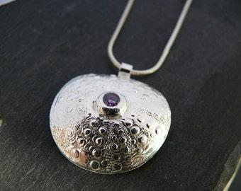 Fine Silver Sea Urchin Textured Pendant - Handmade in Wales
