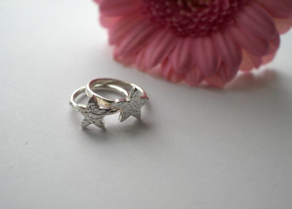 Sterling Silver Floral Textured Star Ring - Handmade in Wales