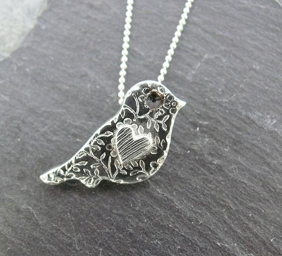 Silver Bird Necklace - Cute Bird Pendant