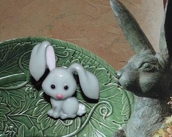 Handcrafted Novelty Little Gray Bunny Rabbit Hat/Shirt/Lapel Pin